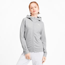 Modern Sports Women's Full Zip Logo Hoodie, Light Gray Heather, small