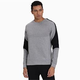 Evostripe Crew Men's Sweater, Medium Gray Heather, small-IND