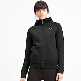 Athletics Women's Full Zip Fleece Hoodie, Puma Black, small