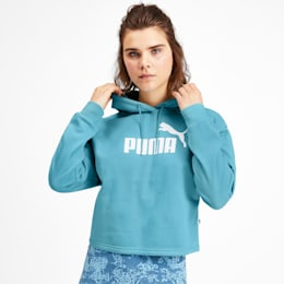 Elevated Essentials Cropped Women's Hoodie, Milky Blue, small