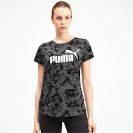 Elevated Essentials All-Over Print Women's Tee, Puma Black, small-IND