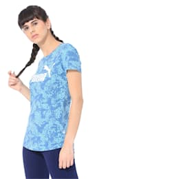 Elevated Essentials All-Over Print Women's Tee, Bluestone, small-IND