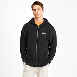 Fusion Fleece Hooded Men's Sweat Jacket, Puma Black, small