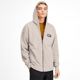 Fusion Fleece Hooded Men's Sweat Jacket, Overcast, small-IND