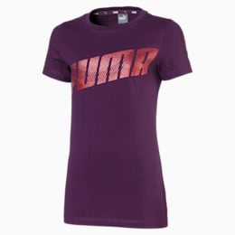 Alpha Logo Short Sleeve Girls' Tee, Plum Purple, small-IND