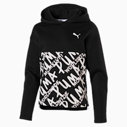 Girls' Alpha Hoodie, Puma Black, small
