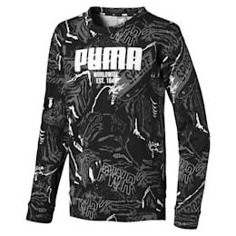 Alpha Graphic Long Sleeve Boys' Shirt, Puma Black, small-IND