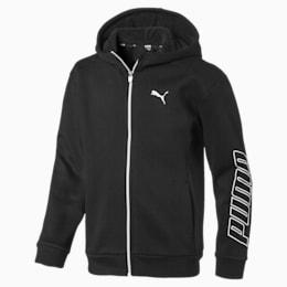Alpha Hooded Boys' Sweat Jacket, Puma Black, small-IND