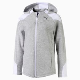 Evostripe Mädchen Sweatjacke mit Kapuze, Light Gray Heather, small