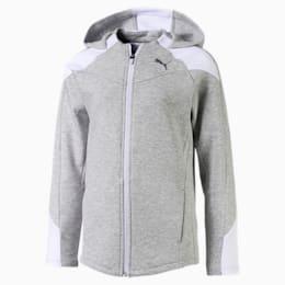Evostripe jakke med hætte til piger, Light Gray Heather, small