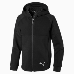 Evostripe Hooded Boys' Sweat Jacket, Puma Black, small