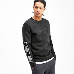 Amplified Long Sleeve Men's Sweater, Dark Gray Heather, small