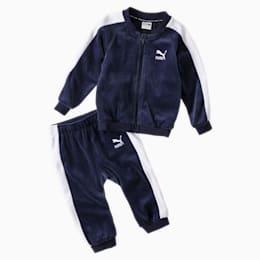 Minicats T7 træningsjakke og -bukser i fløjl til babyer, Peacoat, small