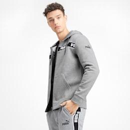 Amplified Fleece Hooded Men's Sweat Jacket, Medium Gray Heather, small