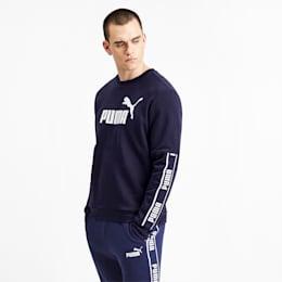 Forstærket sweater med lange ærmer til mænd, Peacoat, small