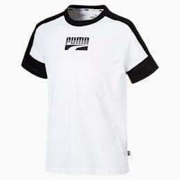 T-shirt de manga curta Rebel para rapaz, Puma White, small