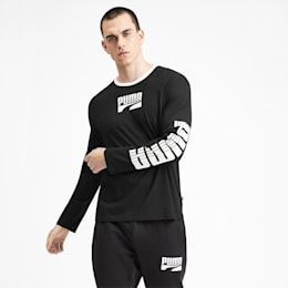 Rebel Bold Long Sleeve Men's Tee, Puma Black, small-SEA