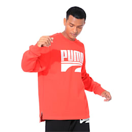 Rebel Bold Crew Neck Men's Sweater, High Risk Red, small-IND