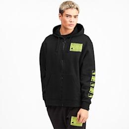 Rebel Bold Men's Fleece Full Zip Hoodie, Puma Black, small
