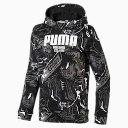 キッズ アルファ AOP フーディー FL, Puma Black, small-JPN