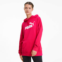 Essentials+ Women's Elongated Hoodie, BRIGHT ROSE, small