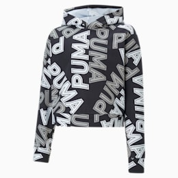 Modern Sports Girls' Hoodie, Puma Black-AOP, small