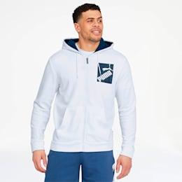Big Logo Men's Full Zip Hoodie, Puma White, small