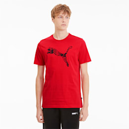 Cat Brand Logo Men's Tee, High Risk Red, small-SEA