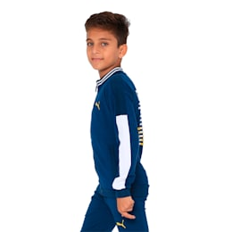 one8 VK Kids' Knitted Sweat Jacket, Gibraltar Sea, small-IND