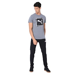 Cat Brand Graphic Men's Tee, Medium Gray Heather, small-IND