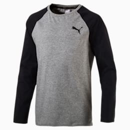 Boys' Baseball Long Sleeve, Medium Gray Heather, small-IND