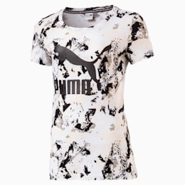 Girl's Classic Logo T-Shirt, Puma White-AOP, small-IND