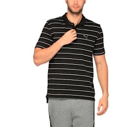 Sports Stripe Pique Polo, Cotton Black, small-IND