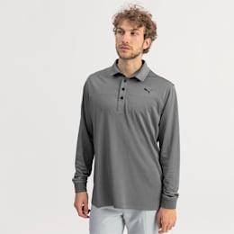 Long Sleeve Men's Golf Polo, Puma Black Heather, small