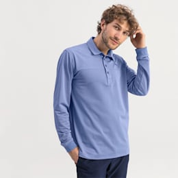 Long Sleeve Men's Golf Polo, Dazzling Blue Heather, small
