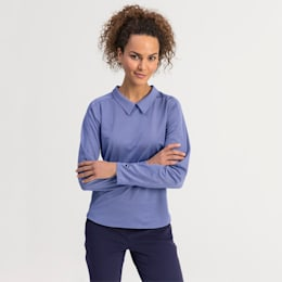 Long Sleeve Women's Golf Polo, Dazzling Blue, small