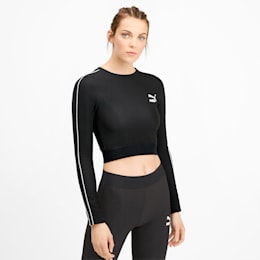 Classics Rib Cropped Long Sleeve Women's Top, Puma Black, small