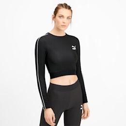 Classics Women's Long Sleeve Crop Top, Puma Black, small