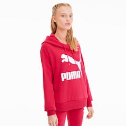 Sudadera con capucha y logo Classics para mujer, ROSA BRILLANTE, pequeño