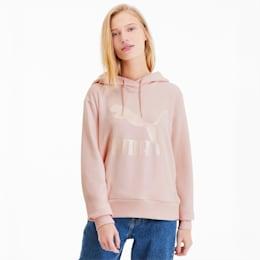 Sudadera con capucha y logo Classics para mujer, Rosewater-Metallic, pequeño