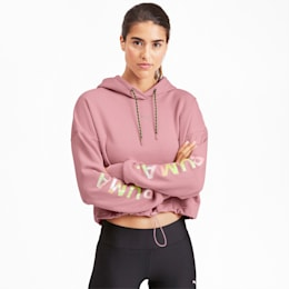 Chase Cropped Women's Hoodie, Bridal Rose, small