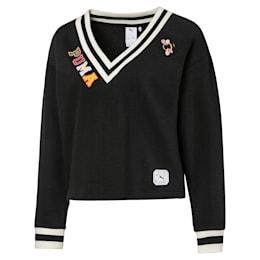 PUMA x SUE TSAI ウィメンズ Vネック セーター, Puma Black, small-JPN