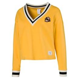 Damski sweter z dzianiny PUMA x SUE TSAI, dekoltem w szpic