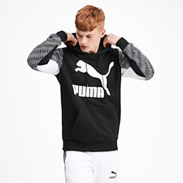 Chaqueta con capucha Classics AOP con estampa para hombre, Puma Black-Repeat logo, pequeño