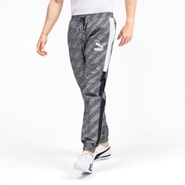 T7 AOP Panel Men's Track Pants, Puma Black-Repeat logo, small