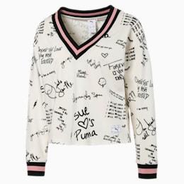 PUMA x SUE TSAI Knitted V-neck Women's Sweater, Whisper White, small