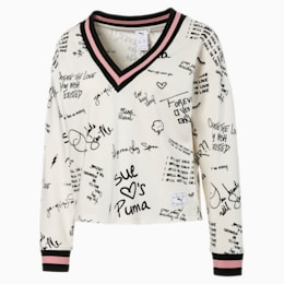 PUMA x SUE TSAI Women's AOP V-Neck Sweater, Whisper White, small