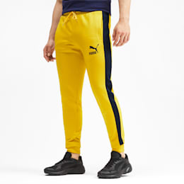 Iconic T7 Knitted Men's Track Pants, Sulphur, small