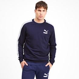 Ikonisk T7 rundhalset herresweater, Peacoat, small