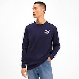 Iconic T7 Men's Fleece Crewneck Sweatshirt, Peacoat, small